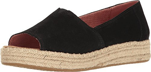 TOMS Women's Open Toe Platform Alpargata Black Suede 7.5 B US For Sale
