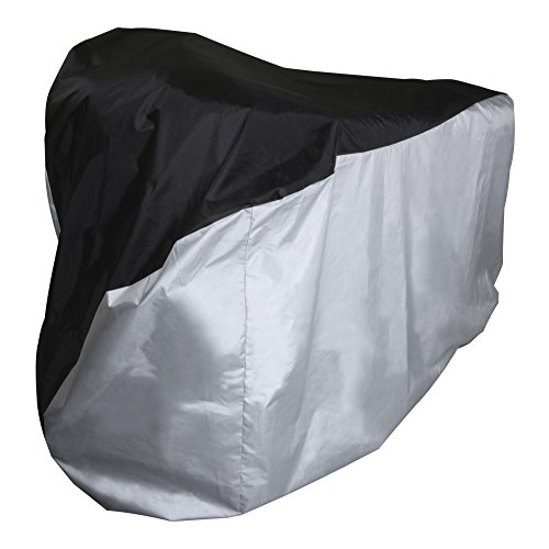 VK Bike Cover | Heavy Duty Waterproof Cover for Motorcycle Bicycle Dirtbike | 190T Polyester Taffeta PU Coating Waterproof Dustfree UV Rays with Storage Pouch and Buckle Strap | Silver Black | 1494