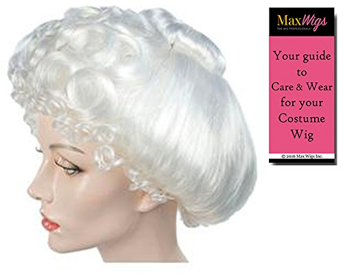 Mrs Claus Gibson Style Color White - Lacey Wigs Women's 1890s Santa Wife UpSweep Jessica Bundle With MaxWigs Costume Wig Care (1890s Dress Costume)
