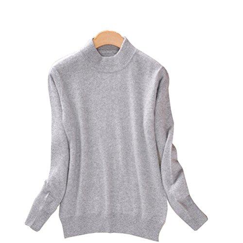 Always Pretty Women's Slim Mock Neck Wool Knit Jumper Sweater Tops Pullover Grey L