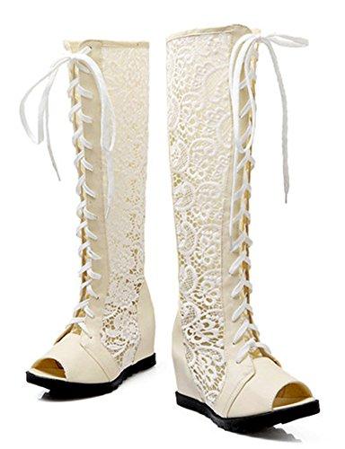 Aisun Cool Hidden Sandals Mesh Gladiator Knee Shoes Womens New Beige Peep Under Lace High Toe Wedge r5P7rq