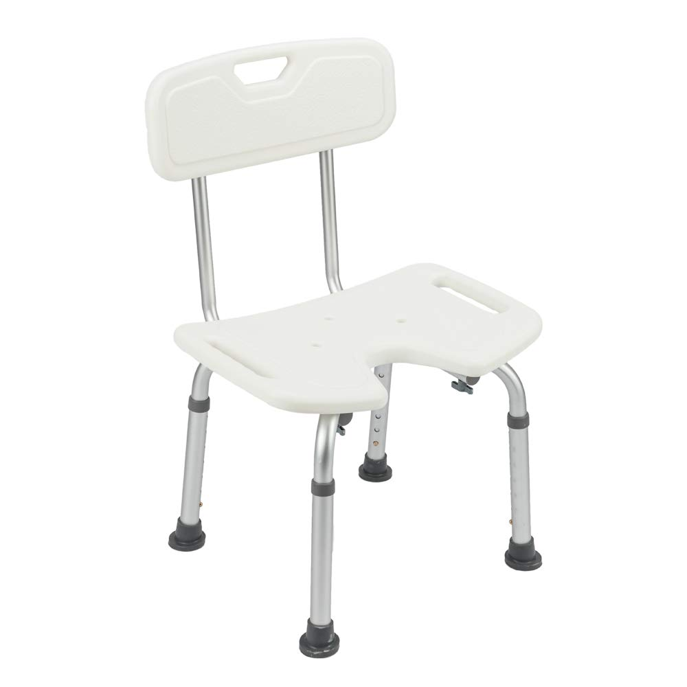 Bath Chair Comfortable Shower Chair with Removable Back Adjustable Handicap Shower Chair Seat Bench Aluminium Alloy for Seniors Elderly Baby Bathtub Lift Chair (19.09'' x 17.52'' x 28.15''-34.06'', White)