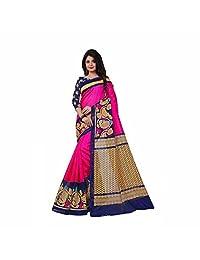 Printed Fashion Art Silk Saree (Pink)