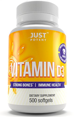 Vitamin D3 Supplement by Just Potent :: 500 Softgels :: 5000 IU :: 500 Days of Uninterrupted Supply