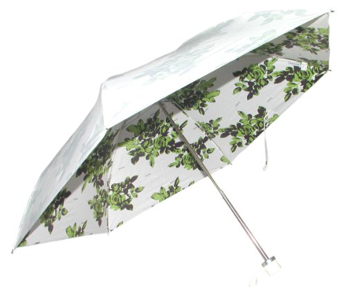 Mini folding umbrella UVION PREMIUM WHITE 88cm diameter shadow Rose Green 3867GR cool light and 99% UV cut (japan import) by