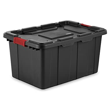 Sterilite 14669004 27 Gallon/ 102 Liter Industrial Tote, Black Lid & Base w/ Racer Red Latches, 4-Pack