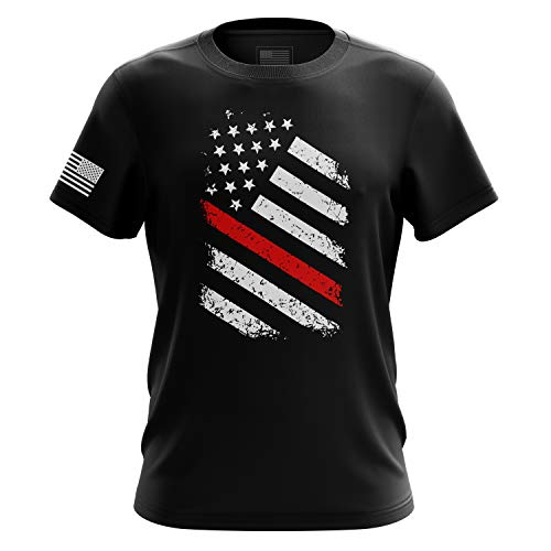 Tactical Pro Supply American Flag Military Army Mens T Shirt (Old Glory Red Line, Medium) ()