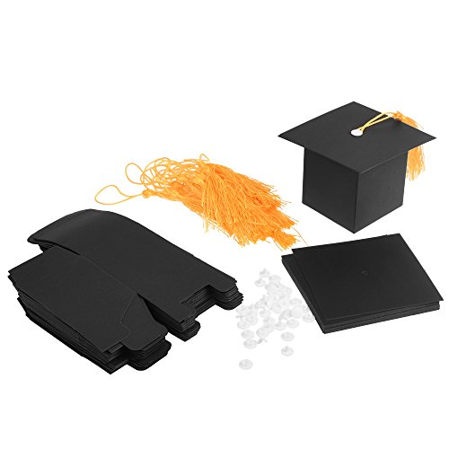 Cosmos 20 Pcs Black Graduation Candy Boxes Party Favors, Graduation Cap Gift Box with -