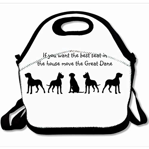 - Ahawoso Reusable Insulated Lunch Tote Bag Black White Great Dane Humor Best Seat House Dog Silhouette 10X11 Zippered Neoprene School Picnic Gourmet Lunchbox