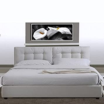 Letto matrimoniale 220x174 in ecopelle bianco moderno a due piazze ...
