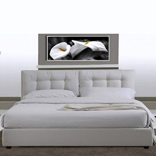Bagno Italia Letto Matrimoniale 220×174 in Ecopelle Bianco Moderno a Due piazze con Rete a doghe I Prezzi offerte