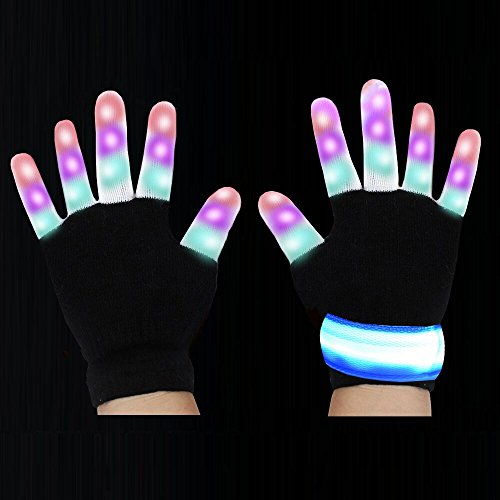 LED Gloves Flashing Finger Light And Wrist Belt With 3 Colors 6 Modes Dancing Gloves For Party, Clubbing, Rave, Birthday, Disco