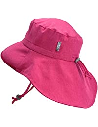 ff80ccfe18012 Baby Toddler Kids Wide Brim 50+ UPF Sun-Hat with Neck Flap Chin-