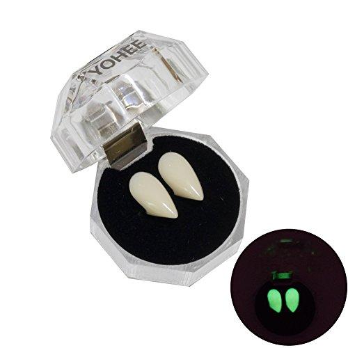 YOHEE Luminous Vampire Teeth Fluorescent Dentures 15mm Fangs Halloween Props Cosplay