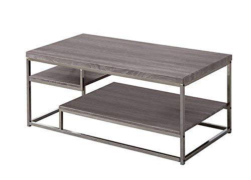 Coaster Home Furnishings 2-Shelf Coffee Table Weathered Grey and Black Nickel