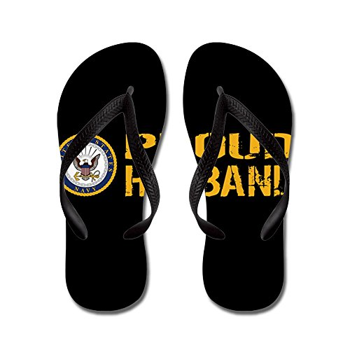 CafePress U.S. Navy: Proud Husband (Black) - Flip Flops, Funny Thong Sandals, Beach Sandals
