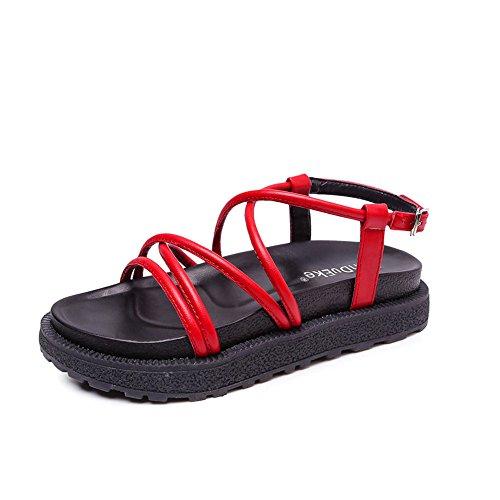 Chaussures Rouge Été Femme Rétro Shangyi Épaisses Avec Sandales Simple Boucle À Kong Semelles Hong Nouvelles Chaussures Plat Shangyi Génoise Goût AHaxfnq