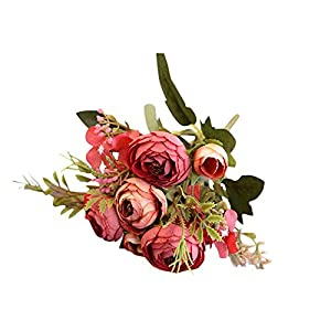 Artificial Flowers Fake Flowers Silk Plastic 5 Branch 6 Heads Camellia Flowers Bouquet for Home Garden Party Wedding Shops Grave Decor 72