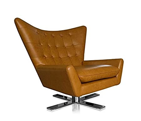 Rotatable V Shaped Real Leather Wing Chair Tv Chair Armchair Lounge Armchair.  Illustration In