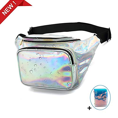 VSTON Waterproof Holographic Fanny Pack,Women Men Shiny Fashion Waist Fanny Pack with Adjustable Belt Cute Card Pack Perfect for Running Hiking Travel Rave Festival Party