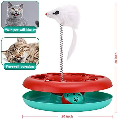 Interactive Cat Toys Tracks Roller Catch Ball Pet Kitten Fun Toy with Teaser Mouse Exercise 6