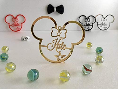 Personalized Mickey Mouse Name Ornament Minnie Mouse Disney Party Favor First Birthday Gift for Kids First Christmas Bauble Tree Decorations Mouse Ears Home Decor 1st Xmas Acrylic Hanging Ornaments -