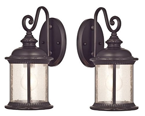Ciata Lighting One-Light Exterior Wall Lantern on Steel with Clear Seeded Glass, Oil Rubbed Bronze Finish - 2 Pack