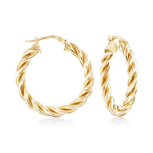 18kt Gold Over Sterling Small Twisted Hoop Earrings ()