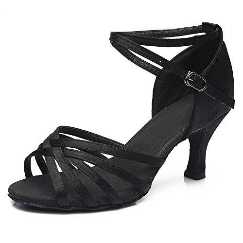 YFF Women Professional Dancing Shoes Ballroom Ladies Latin heeled,Black 5CM,8