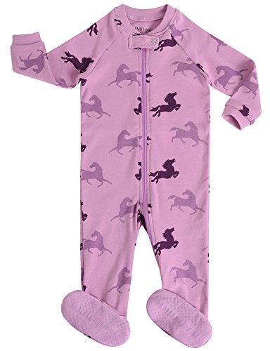 - MMII pajamas Infant Baby Girls Footed Pajamas Horse Sleeper 100% Cotton Blanket Purple Size 18-24 Months