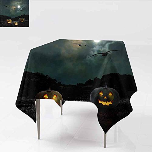 Jbgzzm Halloween Easy Care Tablecloth Yard of an Old House at Night Majestic Moon Sky Creepy Dark Evil Face Pumpkins Easy to Clean W70 xL70 Multicolor ()