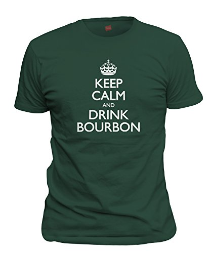 ShirtLoco Men's Keep Calm And Drink Bourbon T-Shirt, Forest Green Large Jim Beam Knob Creek