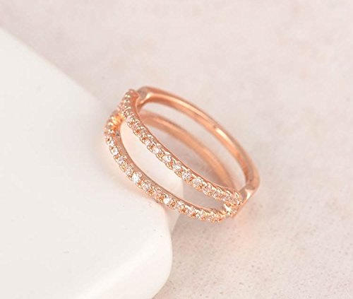 Gemmart Simple Women Rose Gold Color SWA Element cz engagement ring fashion rings size 10