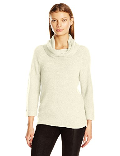 Leo & Nicole Women's 3/4 Sleeve Cowl with Texture Pullover Sweater, Lamb, Large - 3/4 Sleeve Cowl Neck Sweater