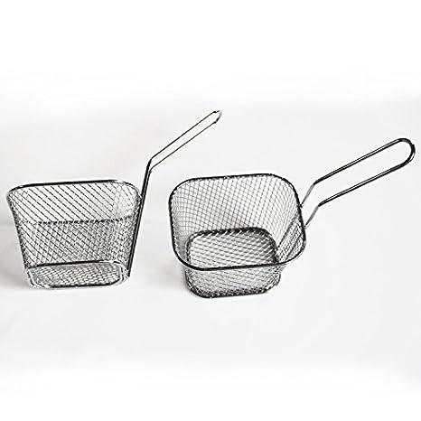 HUAXIONG UN Mini paniers /à frire en chrome Pour frites beignets doignon crevettes quartiers de pomme de terre Noir Acier inoxydable
