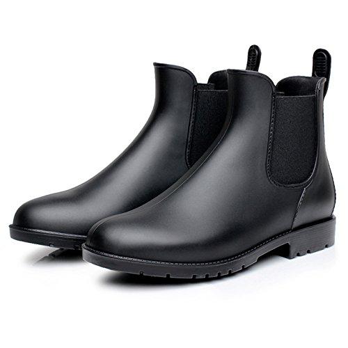 Zkyo Damen Gummistiefel Herren Kurz Regenstiefel mit Blockabsatz Chelsea Boots Rutschfeste Ankle Stiefeletten Größe 34-43 Schwarz