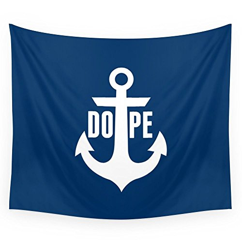 Society6 Nautical Anchor Cool Dope Navy Blue White Wall