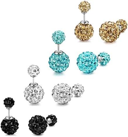 ORAZIO 3-4 Pairs Stainless Steel Cubic Zirconia Stud Earrings for Women Ear Pierced Double Beads
