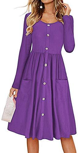 LunaJany Women's Long Sleeve Button Trimmed Front Pocket Pleated Swing Dress 3XLarge Purple