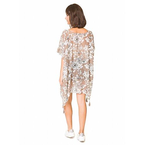 Camisolas Playa Mujer Verano Pareo Vestido para Proteger Sol y Cubrir Bikini Beige con estampado blanco