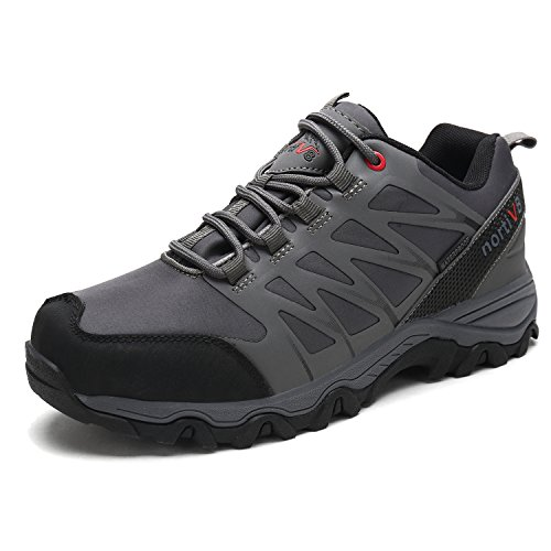 DREAM PAIRS Men's Nortiv8 160489-M Dk.Grey Black Red insulated Waterproof Work Hiking Boots Size 10 M - Footwear Hiking