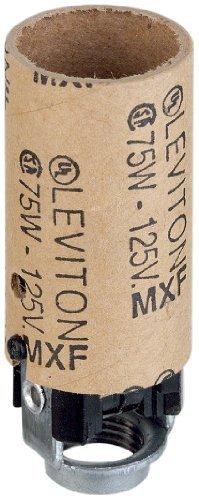 Leviton 10027 Candelabra Base, One-Piece, Keyless, Incandescent, Phenolic Lampholder, Black ()