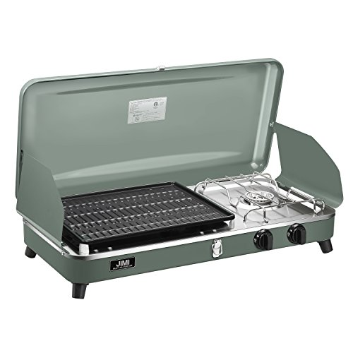 Outdoor Dual-Burner Camping Grill/Stove Portable Gas Grill Tailgating Cooker with Hose and Adapter