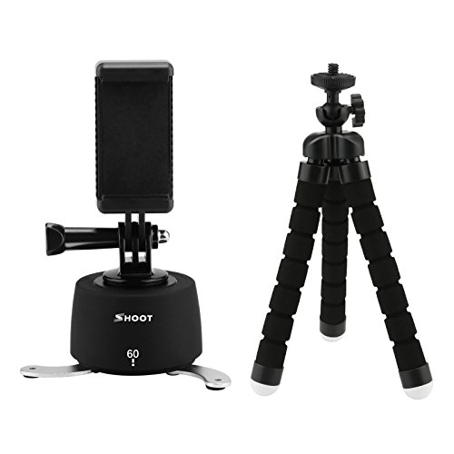 D&F 360°/60min Time Lapse Pan Variable Speeds Mount Tripod for GoPro 7/6/5/(2018), SJCAM, Action Camera & Smartphone with Panoramic Photos