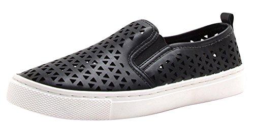 Cambridge Select Womens Closed Round Toe Laser Cutout Stretch Slip-On Flatform Fashion Sneaker Black Pu 41ZPTtns8