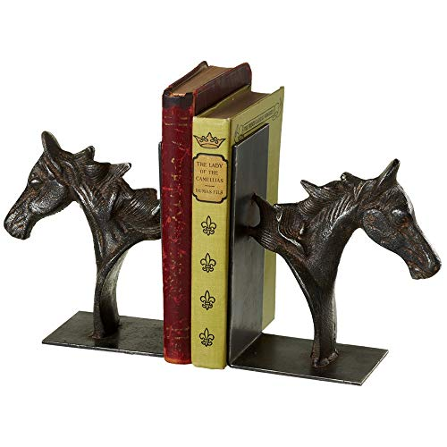 Cast Iron Horse Bookend - Black Cast Iron Distressed Double Horse Head Bookends