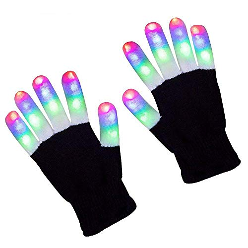 threepanda 2 Pairs LED Light Up Gloves Costume Gloves Party Dance Play Teenager Hand Toy Gloves -