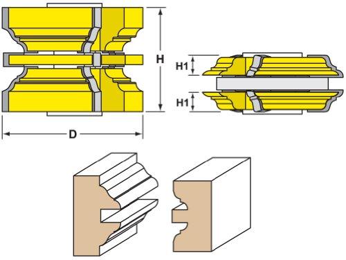 Woodtek 832721, Shaper Cutters, Passage Door Stile & Rail Set, 3/4'' Bore by Woodtek