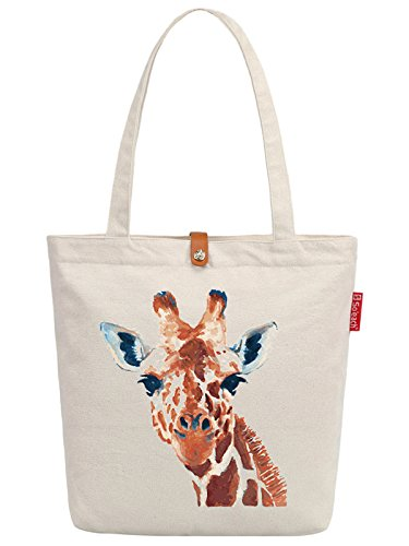 38cm So'each Tote Canvas Painting Print Beige amp; 10L Giraffe Art Beach Bag zFzrnax