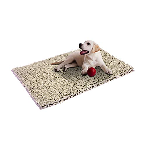 Cosyroom Microfiber Chenille Dog Door Mat Ultra Absorbent Dirty Non Slip Doormat Rugs for Patio, Front Door, Entry, Machine Washable (Large, Beige)